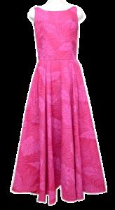 ピンク地模様のフラダンスドレス