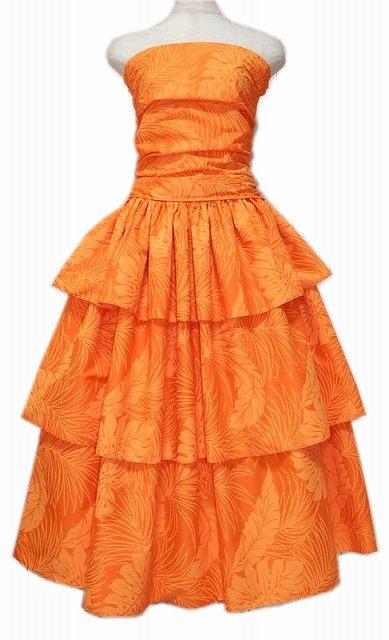 スリーフレア フラドレス オレンジ